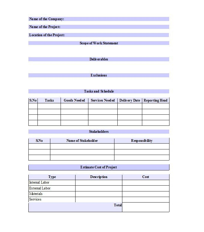 Scope Of Work Template Excel 30 Ready to Use Scope Of Work Templates & Examples