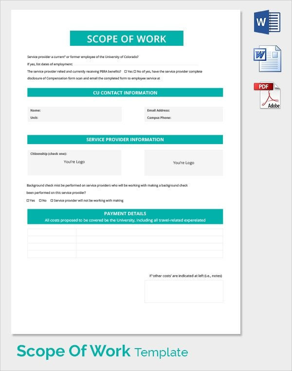Scope Of Work Template Excel Free 21 Sample Scope Of Work Templates In Pdf Word