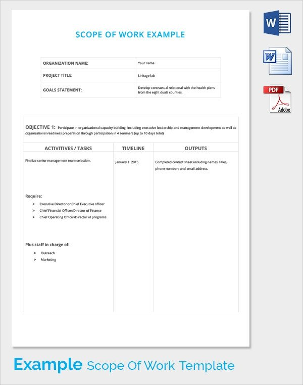 Scope Of Work Template Excel Scope Of Work 22 Dowload Free Documents In Pdf Word Excel