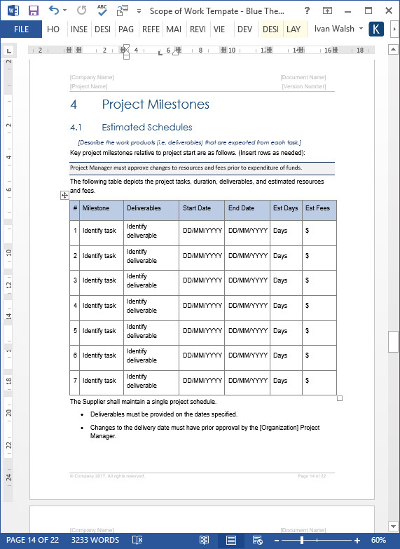 Scope Of Work Template Excel Scope Of Work Template – Download Ms Word & Excel Templates