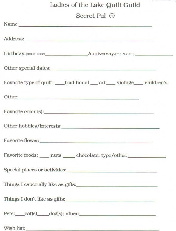 Secret Pal Questionaire 9 Best Secret Pal Images On Pinterest