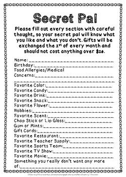 Secret Pal Questionaire Secret Pal Questionnaire by Courtney C Creations
