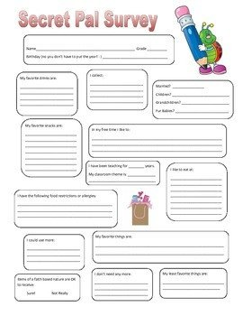 Secret Pal Questionaire Secret Pal Survey by We are Busy Bees