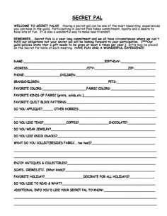 Secret Pal Questionaire Secret Sister Questionnaire