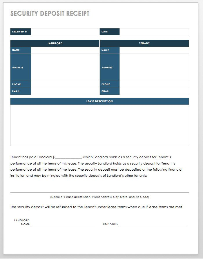 Security Deposit Receipt Template 18 Free Property Management Templates