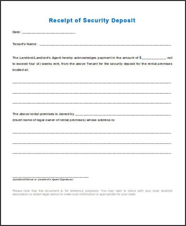 Security Deposit Receipt Template 39 Free Receipt forms