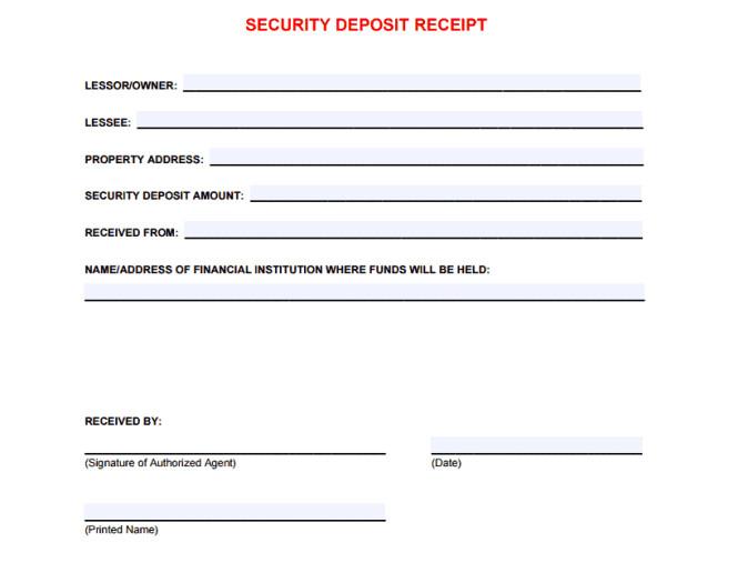 Security Deposit Receipt Template 5 Free Security Deposit Receipt Templates Word Excel