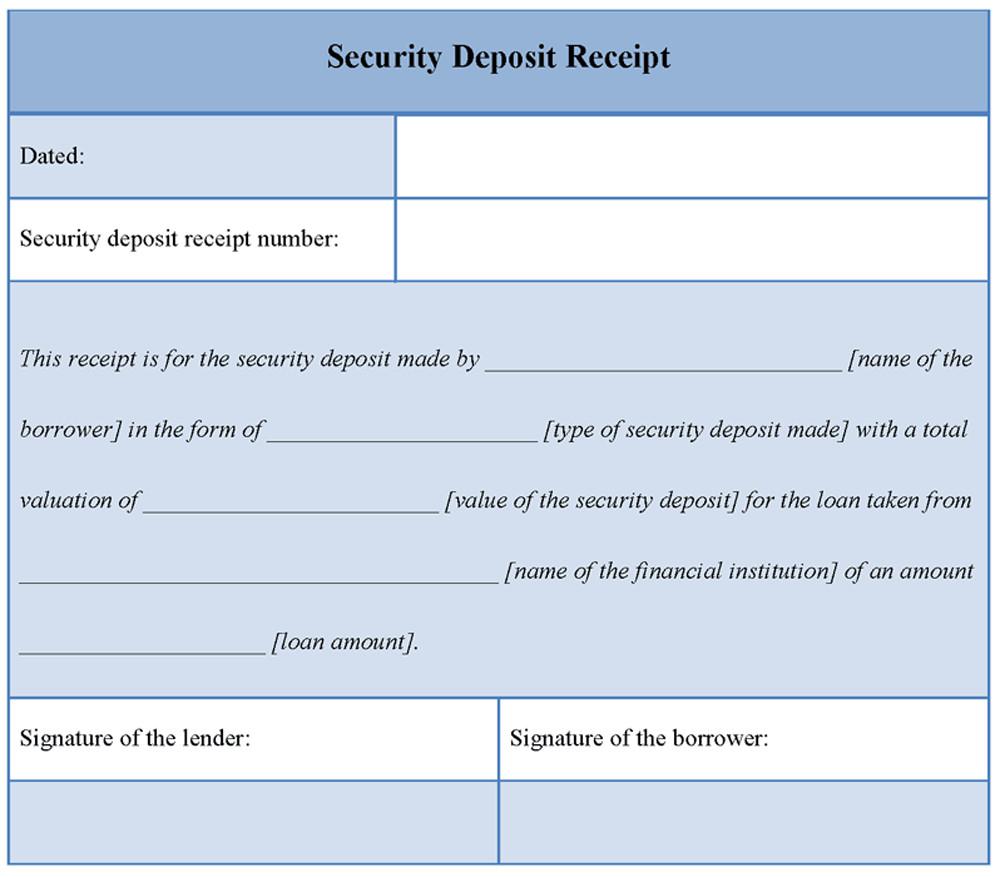 Security Deposit Receipt Template Download Printable Security Deposit Receipt Template Word