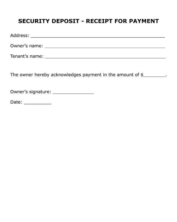 Security Deposit Receipt Template Free Printable Legal form Security Deposit Receipt for