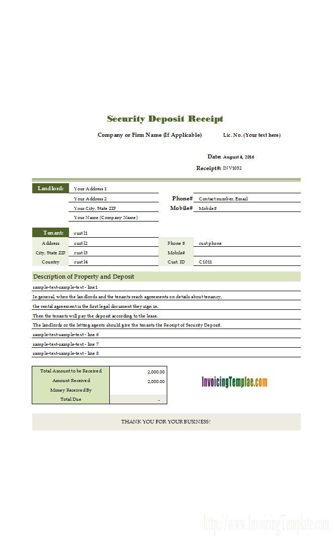 Security Deposit Receipt Template Receipt Template