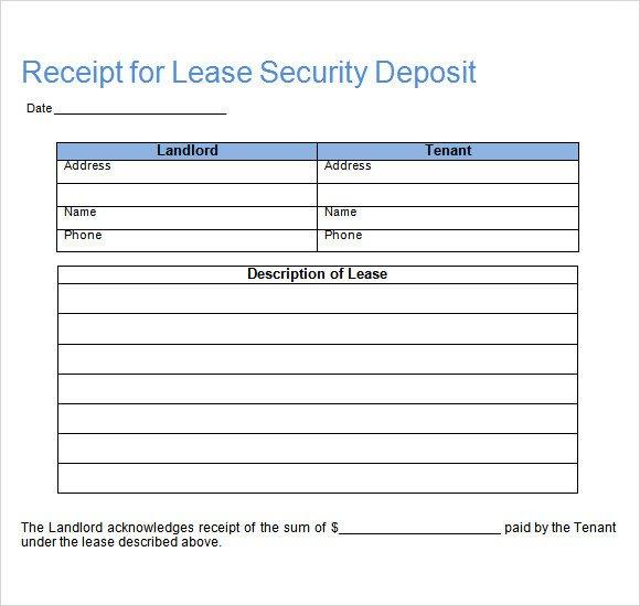 Security Deposit Receipt Template Sample Deposit Receipt 16 Free Download for Pdf Word