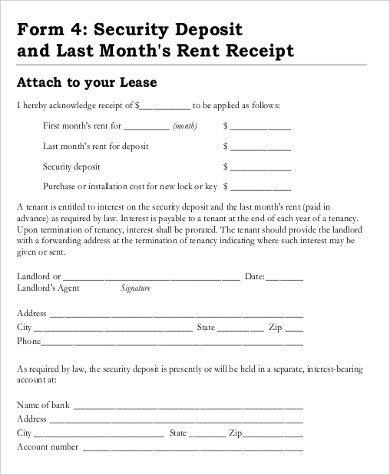 Security Deposit Receipt Template Sample Rent Deposit Receipt 8 Examples In Word Pdf