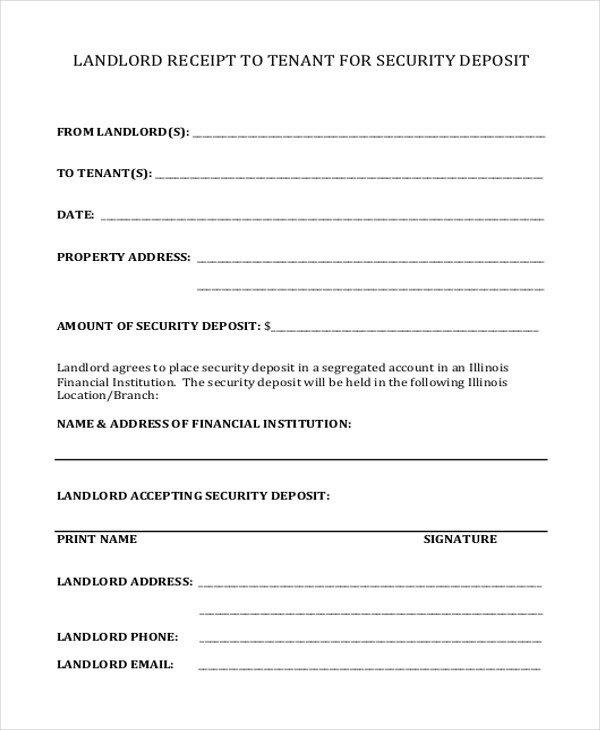 Security Deposit Receipt Template Sample Security Deposit Receipt form 8 Free Documents