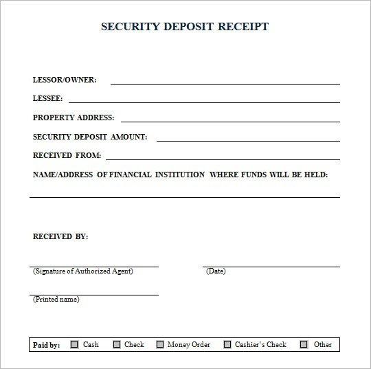 Security Deposit Receipt Template Security Deposit Receipt form