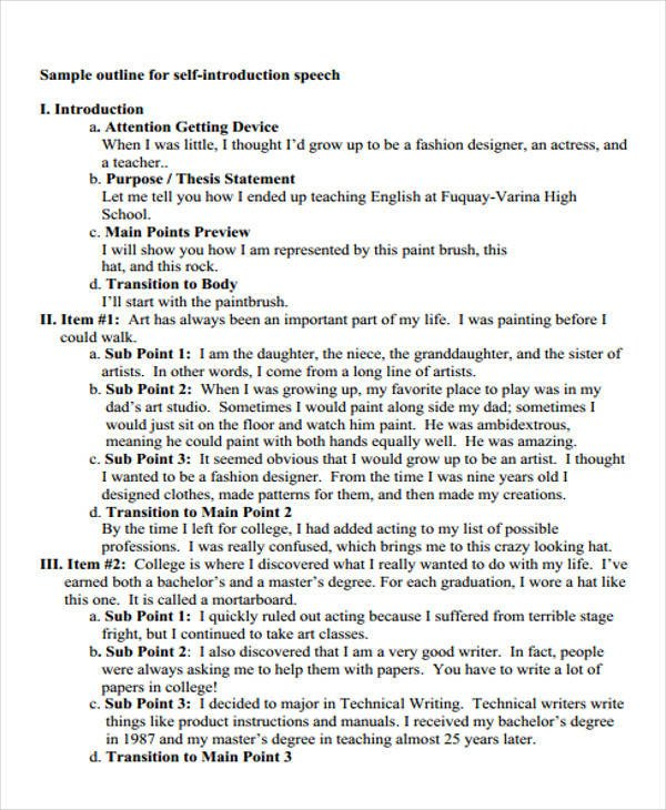 Self Intro Speech Outline 36 Introduction Speech Examples