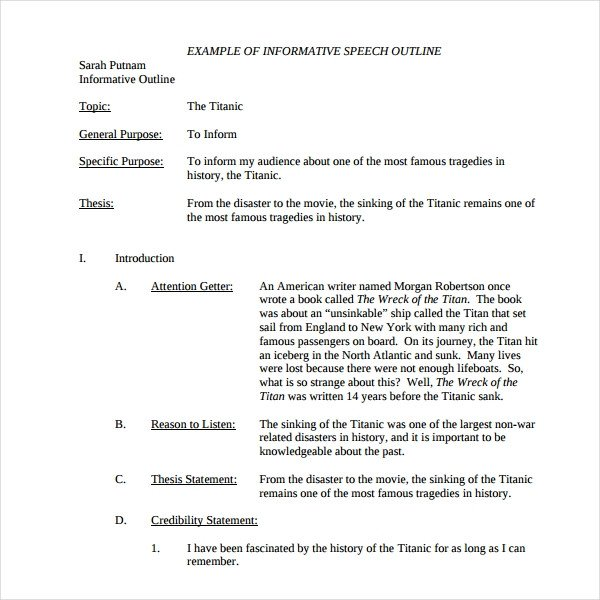 Self Intro Speech Outline 4 Introduction Speech Outline Templates Pdf Word