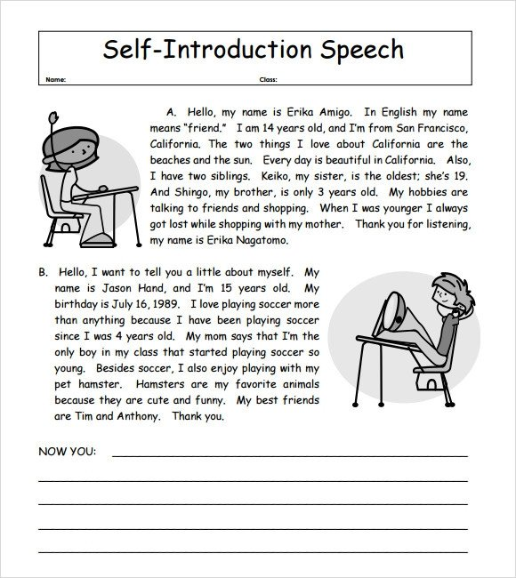 Self Intro Speech Outline 7 Self Introduction Speech Examples for Free Download Pdf