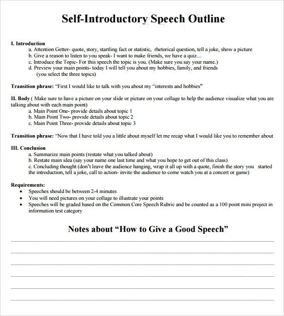 7 Self Introduction Speech Examples for Free Download PDF