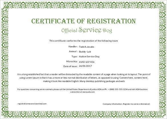 Service Dog Certificate Template Certificate Templates