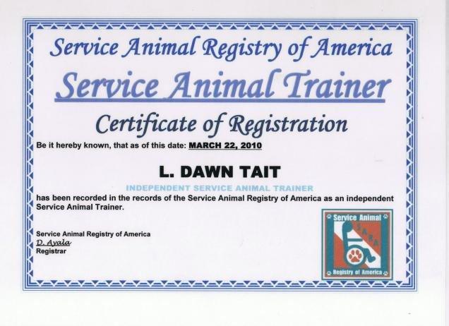 Service Dog Certificate Template Service Dog Certificate Template