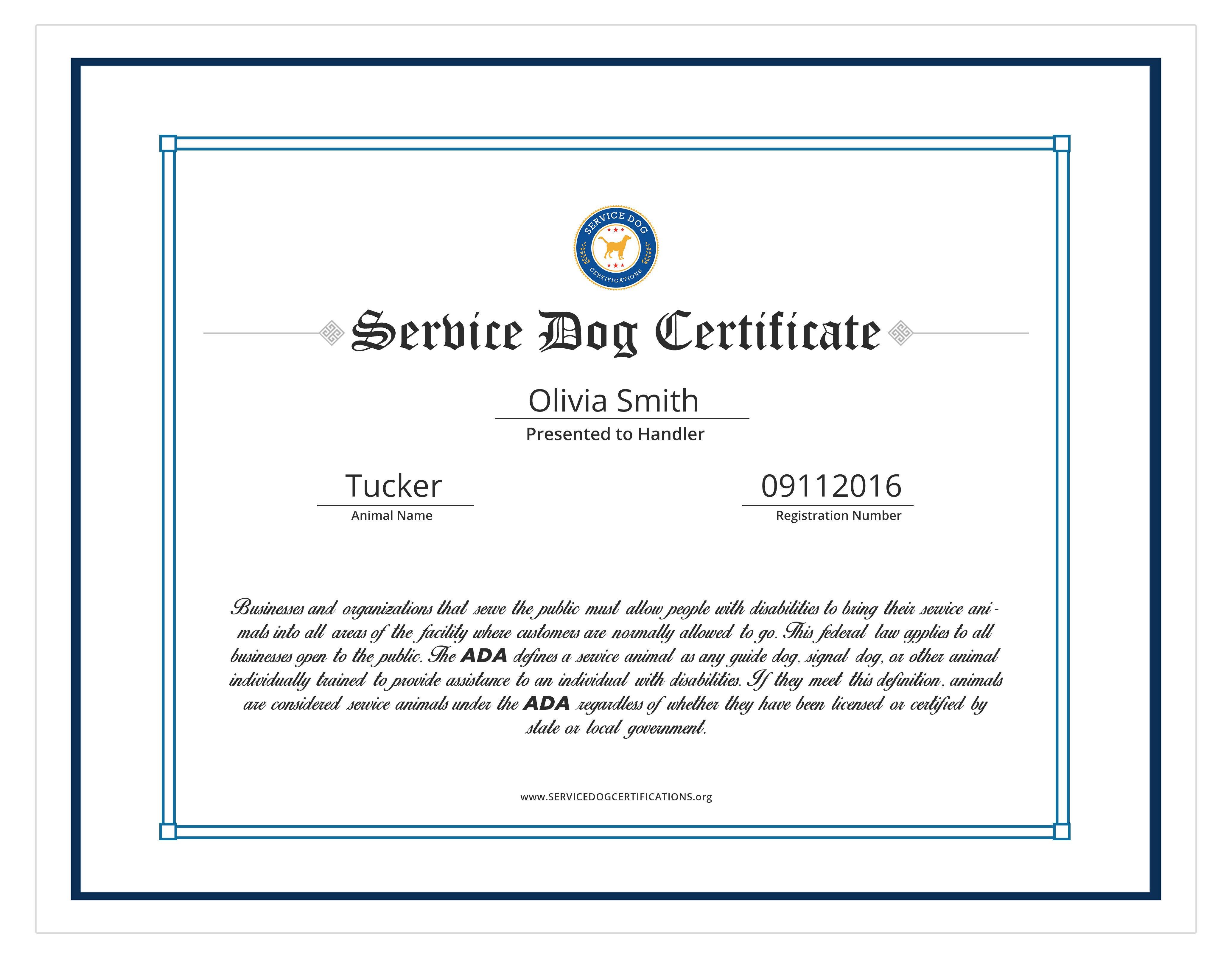 Service Dog Certificate Template Service Dog Certifications Id
