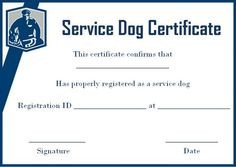 Service Dog Certificate Template Service Dog Papers Template