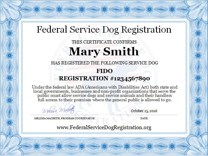Service Dog Certificate Template Service Dog Registration Digital Certificate