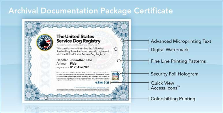 Service Dog Certificate Template Upgraded Archival Documentation Package