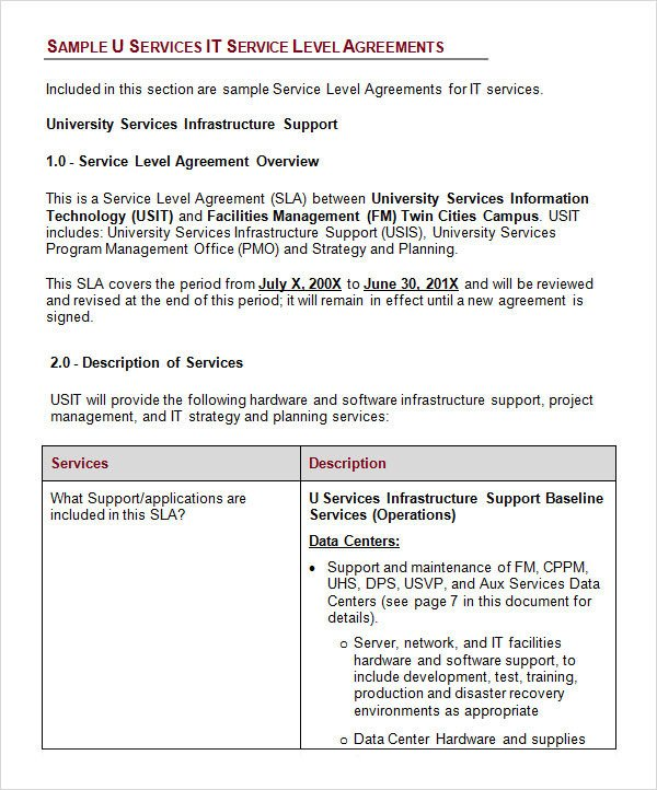 Service Level Agreement 17 Download Free Documents in
