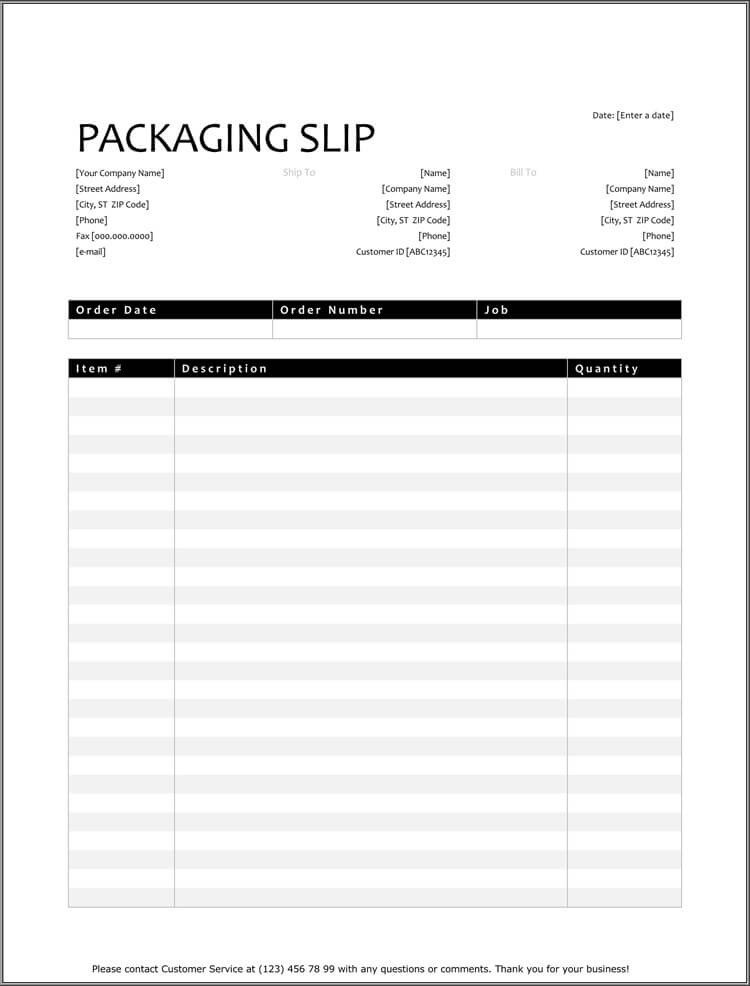 Shipping Packing List Template 25 Free Shipping & Packing Slip Templates for Word & Excel