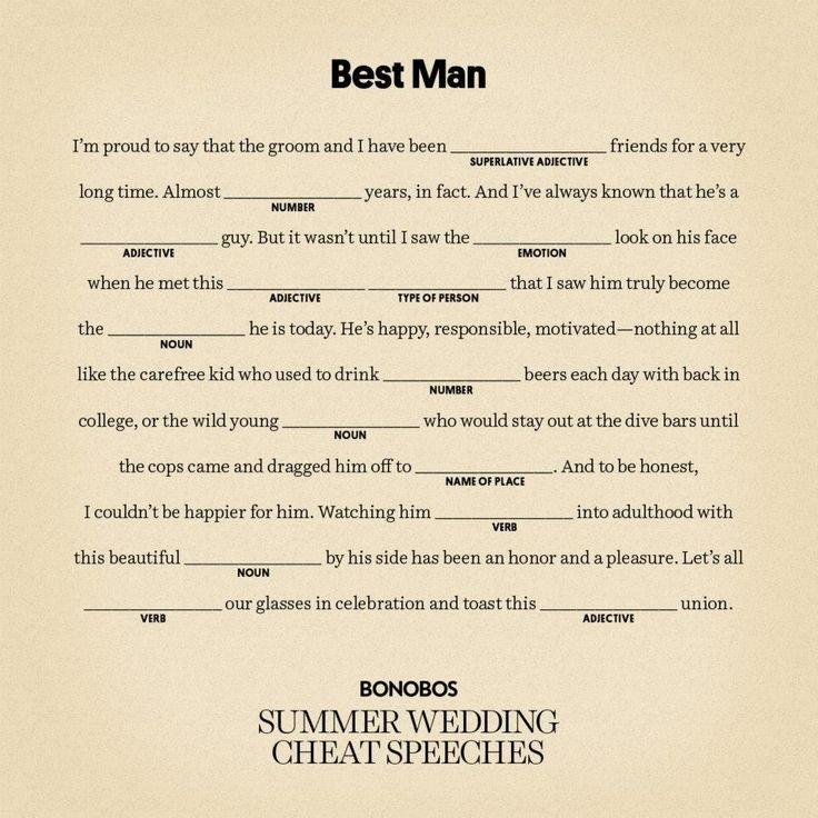 Short Best Man Speech Template Writing A Best Man Speech for Brother