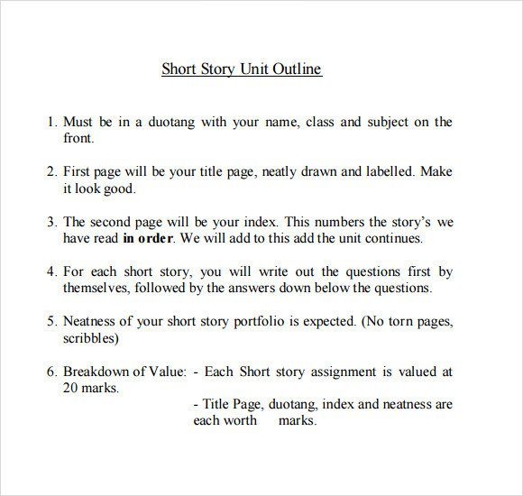 Short Story Outline Template Story Outline Sample 9 Documents In Pdf Word