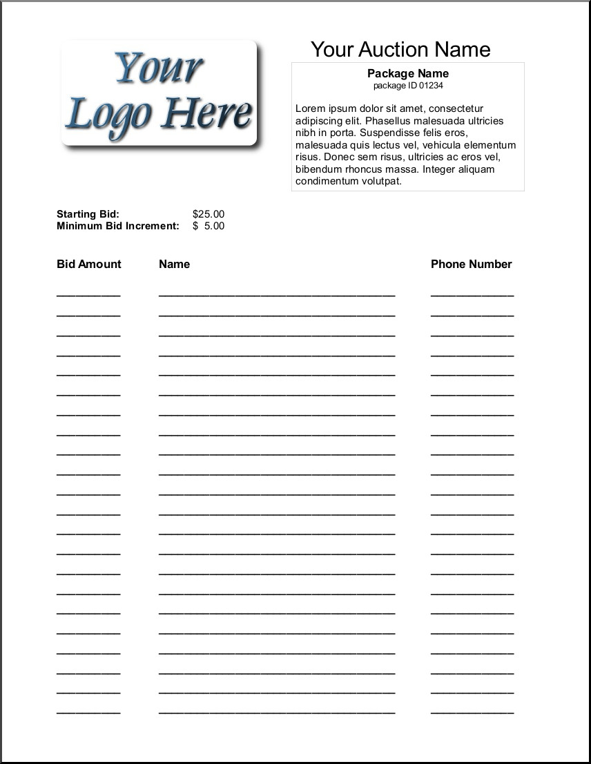 Silent Auction Bid Sheet 16 Silent Auction Bid Sheet Templates Free Sample Templates