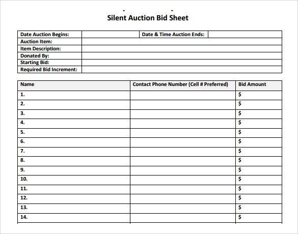 Silent Auction Bid Sheet 20 Sample Silent Auction Bid Sheet Templates to Download