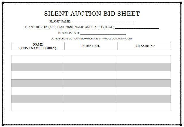 Silent Auction Bid Sheet 30 Silent Auction Bid Sheet Templates [word Excel Pdf]