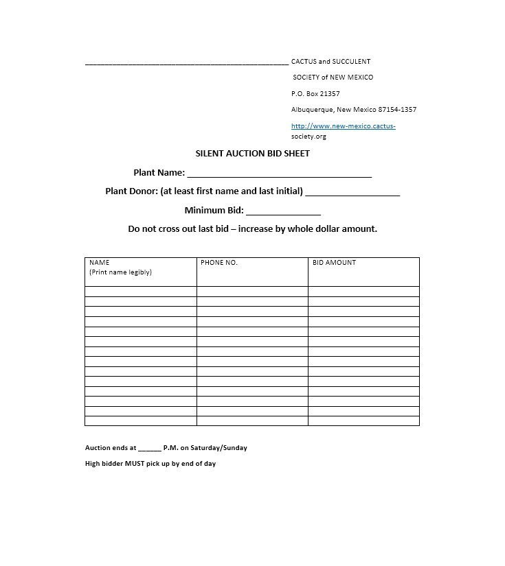 Silent Auction Bid Sheet 40 Silent Auction Bid Sheet Templates [word Excel]