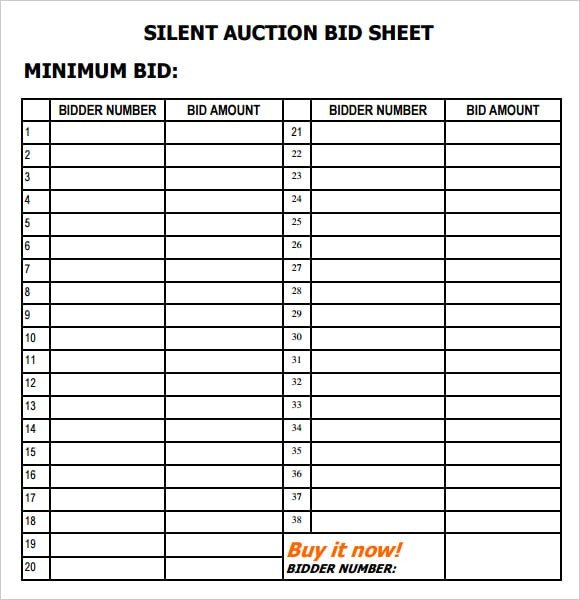 Silent Auction Bid Sheet 6 Silent Auction Bid Sheet Templates formats Examples