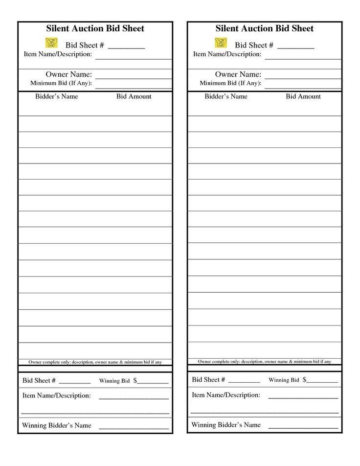 Silent Auction Bid Sheet Auction Bid Sheets Cake Ideas and Designs