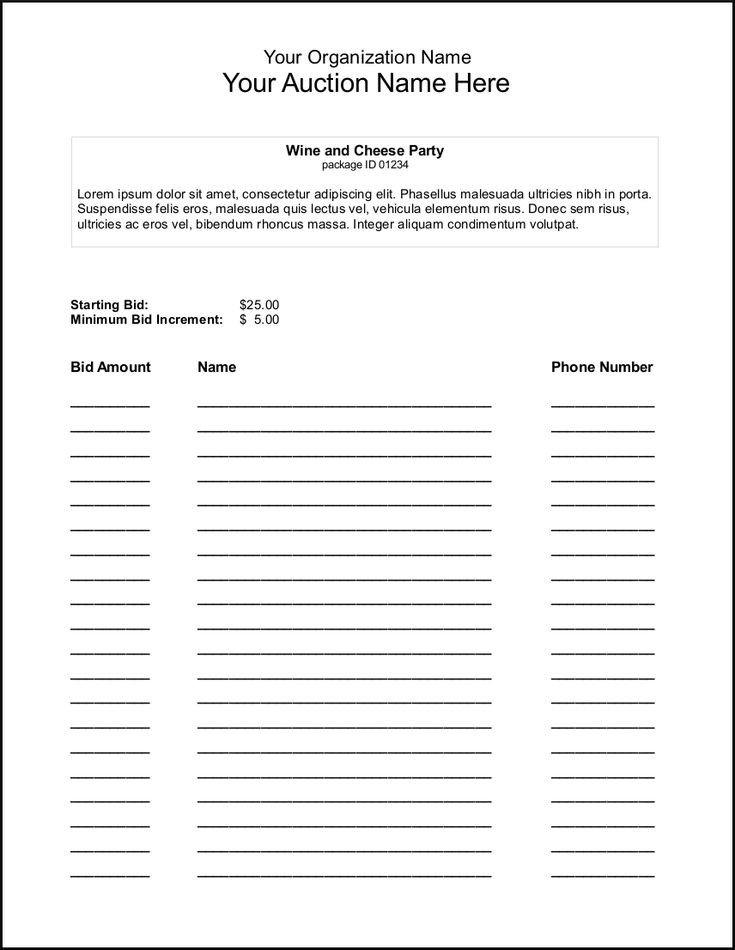 Silent Auction Bid Sheet Silent Auction Bid Sheet Template Google Search