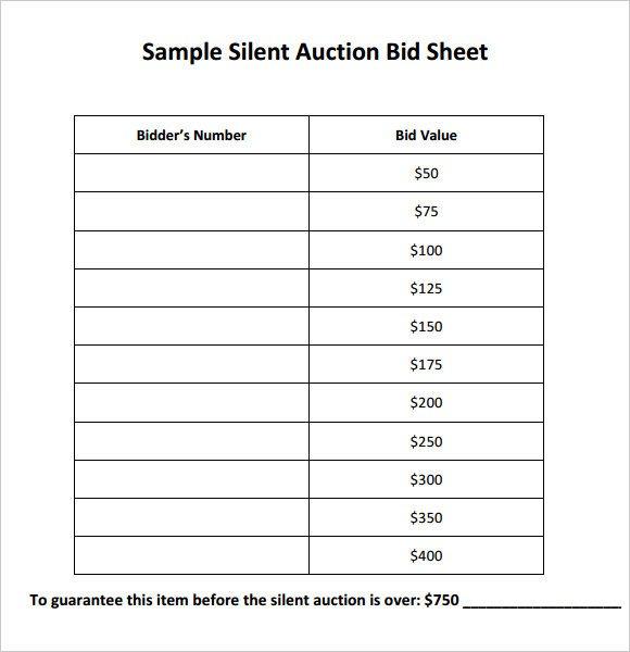 Silent Auction Bid Sheet Template Silent Auction Bid Sheet Template Pdf Free Download