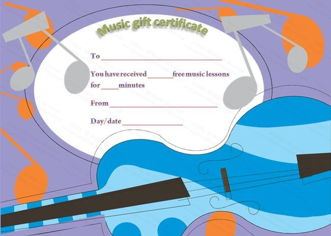 Silent Auction Gift Certificate Template Free Music Lessons Gift Certificate Template