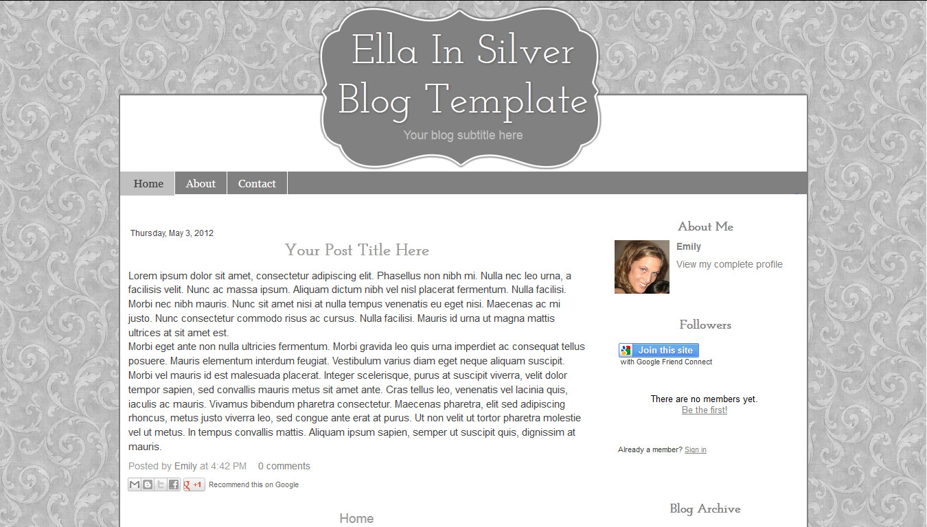 Simple Blogger Templates Free Silver Modern Chic Simple Blogger Template