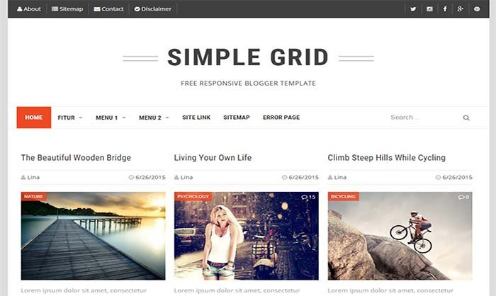 Simple Blogger Templates Free Simple Grid Responsive Blogger Template