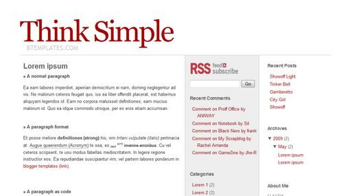 Simple Blogger Templates Free Think Simple Blogger Template Btemplates
