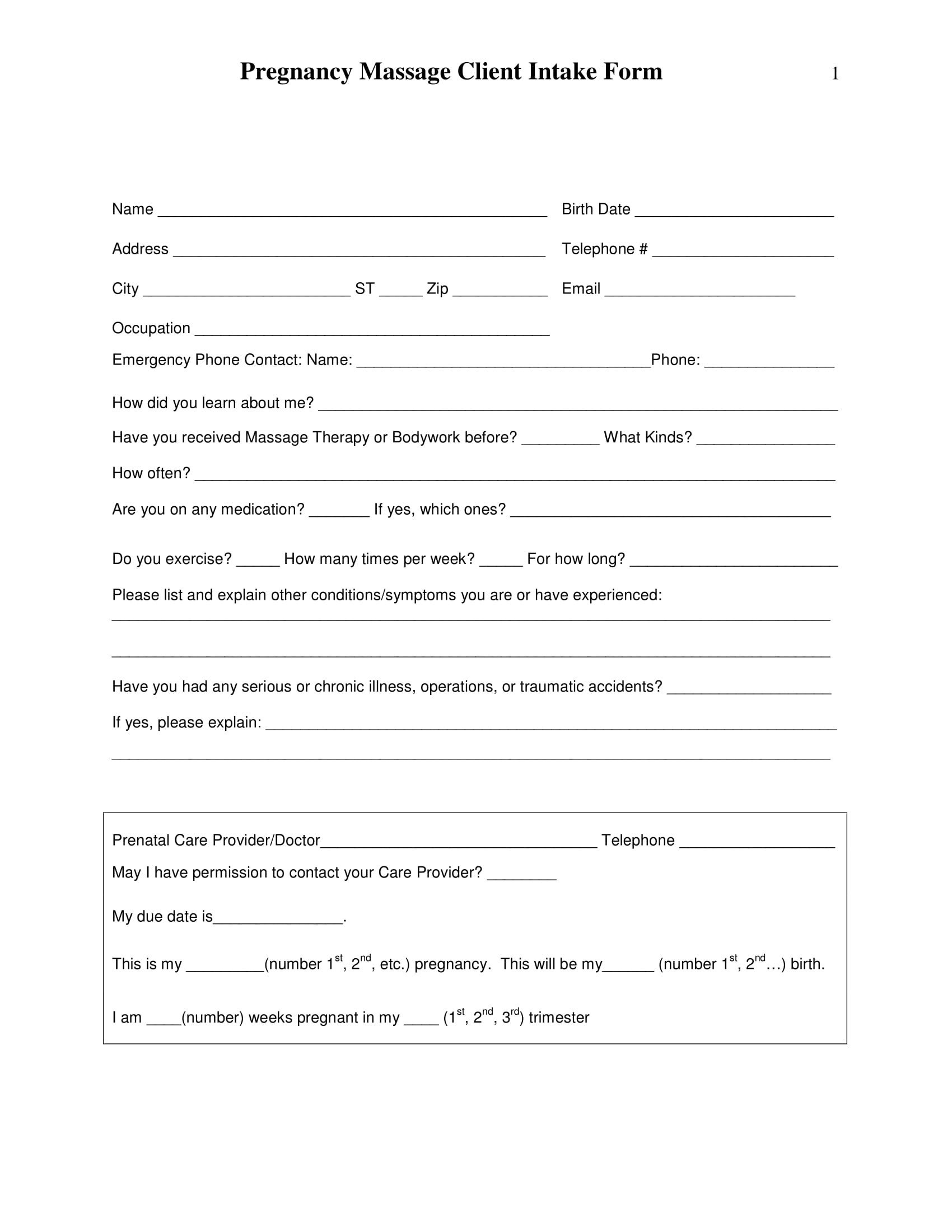Simple Massage Intake form 5 Massage Intake forms Pdf