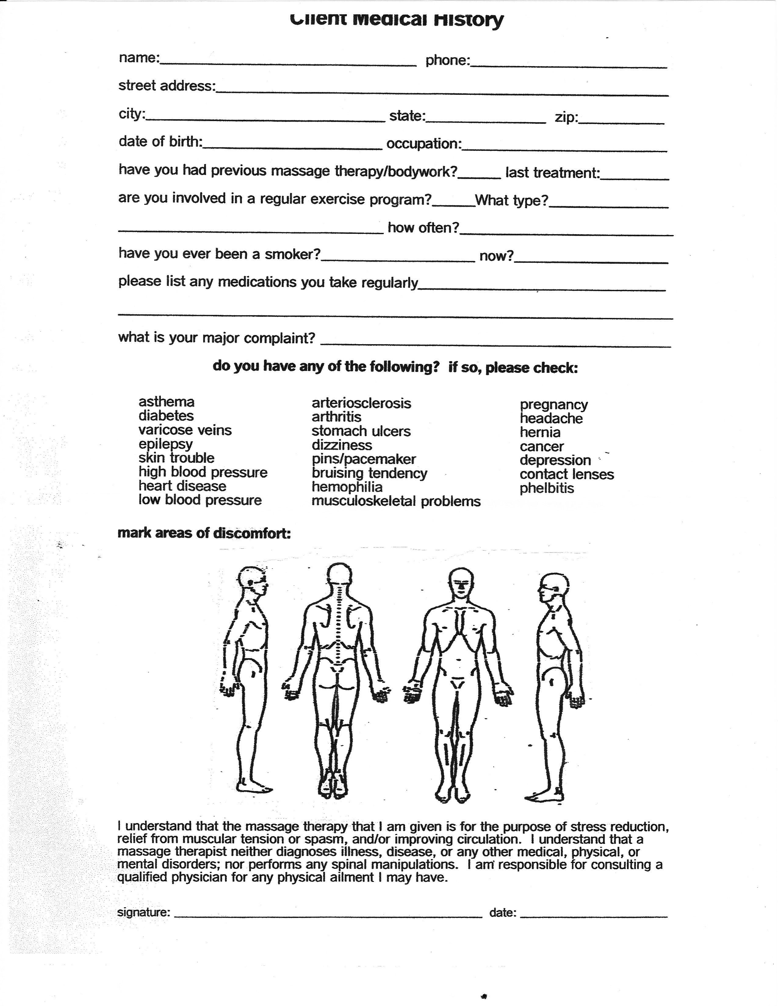 Simple Massage Intake form Massage therapy Consent forms Free Google Search