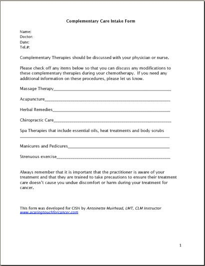 Simple Massage Intake form Plementary Care History form by Antoinette Muirhead