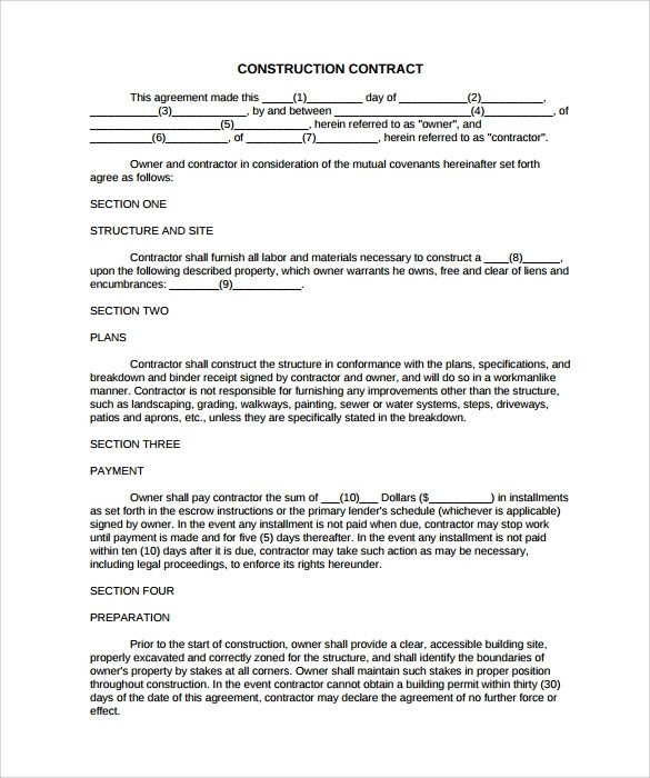 Simple Roofing Contract Template 10 Construction Contract Templates Pdf Word Pages