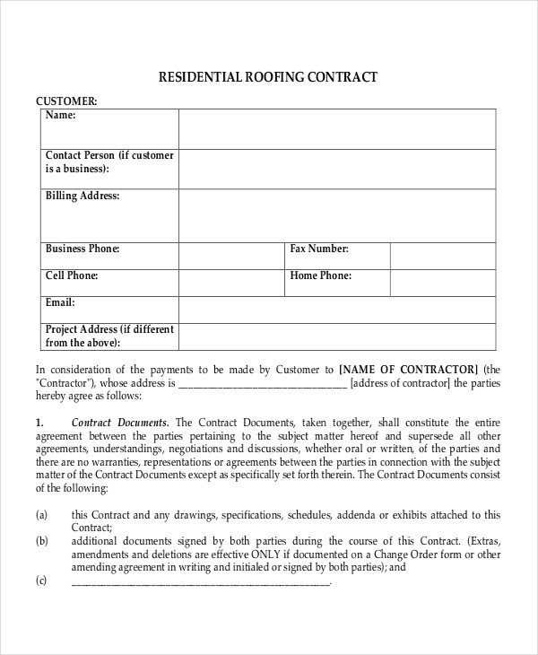 Simple Roofing Contract Template 33 Contract Templates Word Docs Pages