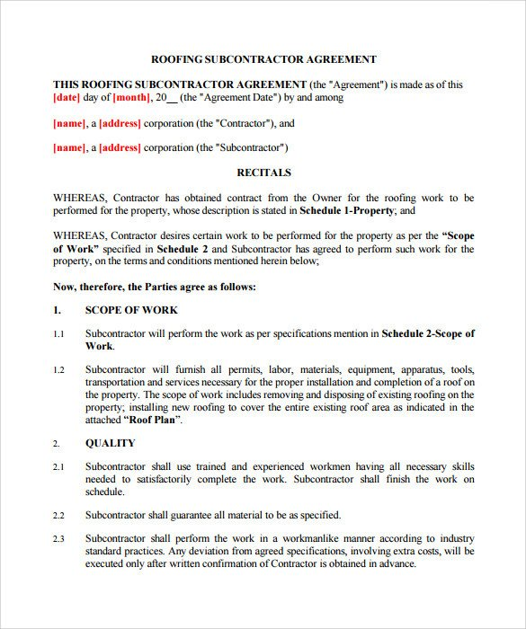 Simple Roofing Contract Template Roofing Contract Template 13 Download Documents In Pdf